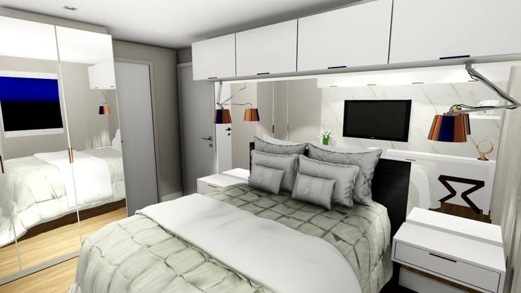 Apartamento compacto para jovem casal moderno: Quartos  por Studio²