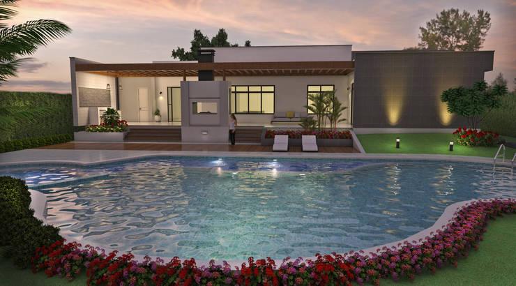 Zona Húmeda, piscina, Spa, B.B.Q.: Piscinas de estilo  por Arquitecto Pablo Restrepo