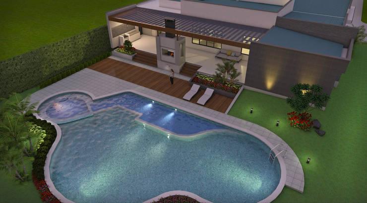 Vista aérea Zona Húmeda, piscina, Spa, B.B.Q.: Casas de estilo  por Arquitecto Pablo Restrepo