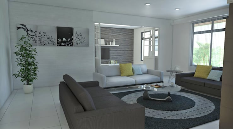 Sala principal: Salas de estilo  por Arquitecto Pablo Restrepo