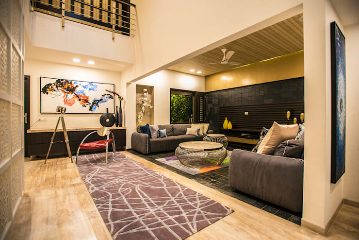 Lobby + Lounge:  Living room by Studio An-V-Thot Architects Pvt. Ltd.,Modern