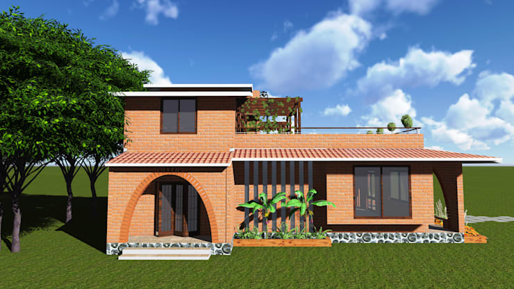 Bungalow at Hadapsar:   by Ingenious designs