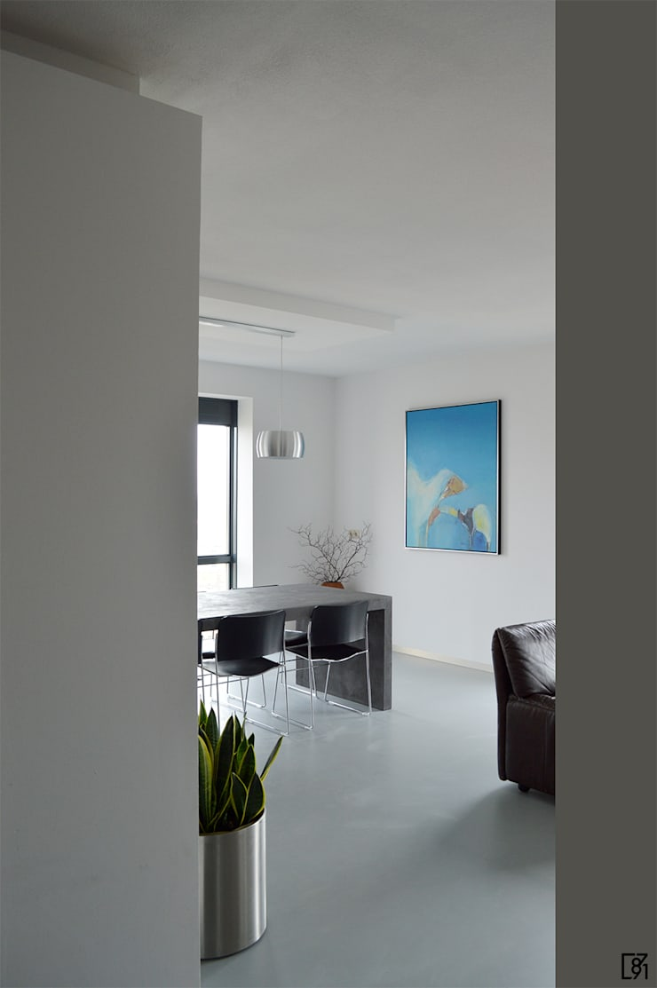 Penthouse Rotterdam:  Woonkamer door Atelier Perspective Interieurarchitectuur, Modern