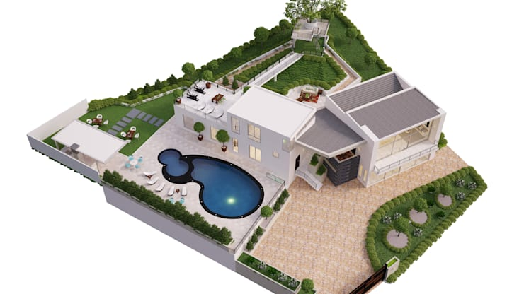 render anapoima arte 3d fusagasuga: Casas de estilo  por okull creativo, Minimalista