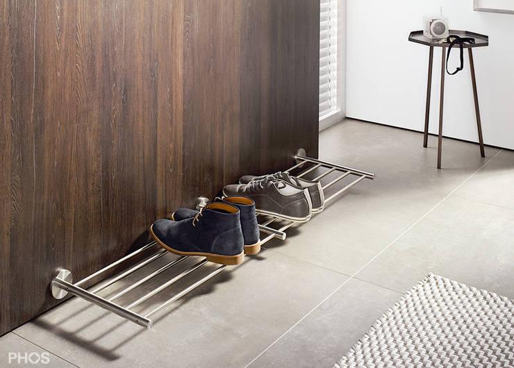 Schuhregale und schuhablagen in edelstahl design von phos design