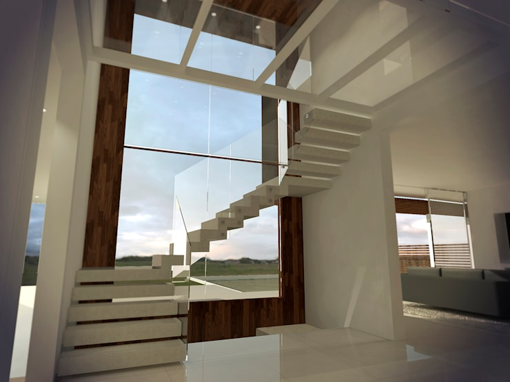 Escalera flotante: Pasillos y recibidores de estilo  por Metamorfosis Arquitectura,
