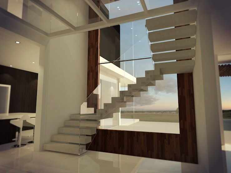 Hall de acceso.: Pasillos y recibidores de estilo  por Metamorfosis Arquitectura,