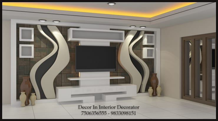 Tv Unit, Wall Painting, Electric and POP Work: modern Living room by Decor In Interior Decorator