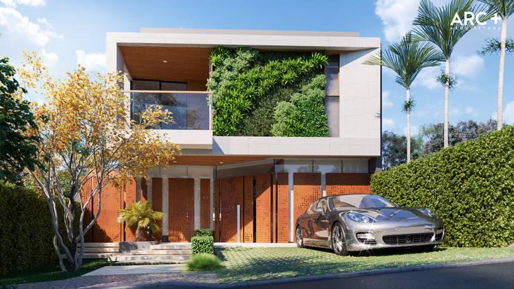 Fachada Frontal - Dia: Casas modernas por ARC+ Arquitetura