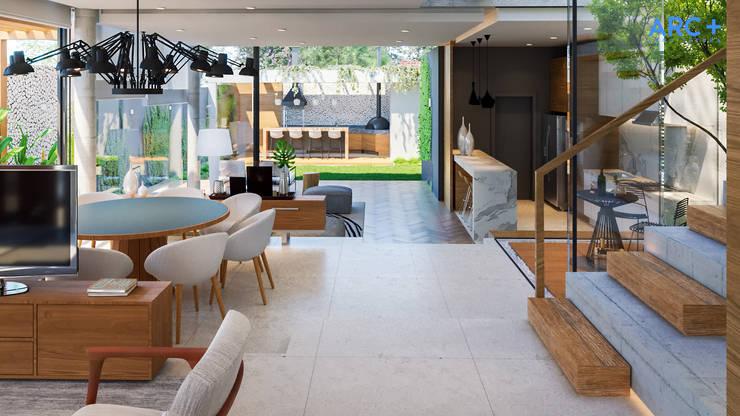 Entrada da Residência com ambientes integrados - Dia: Corredores e halls de entrada  por ARC+ Arquitetura