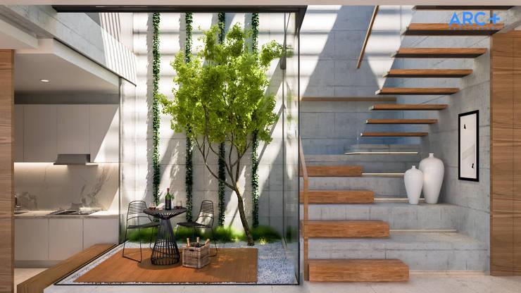 Pátio interno e escada - Dia: Terraços  por ARC+ Arquitetura