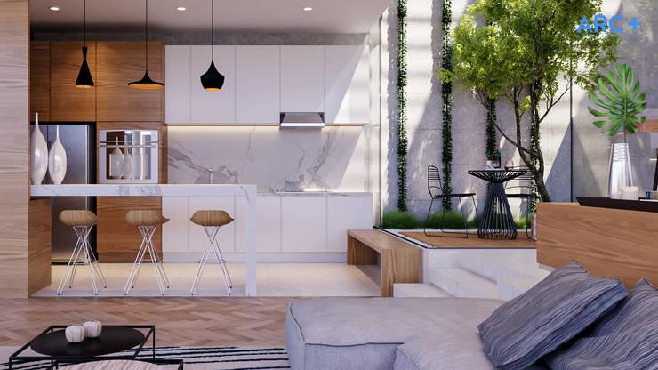 Cozinha integrada com Sala - Dia: Cozinhas modernas por ARC+ Arquitetura