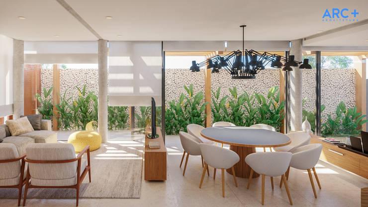 Espaços de estar integrados com área externa: Salas de jantar modernas por ARC+ Arquitetura