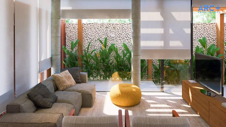 Sala de TV integrada com área externa - dia: Salas multimídia modernas por ARC+ Arquitetura
