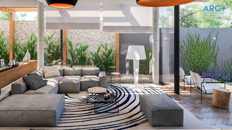 Sala de estar integrada com área externa - Dia: Salas de estar modernas por ARC+ Arquitetura