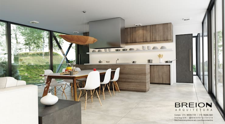 Cocinas de estilo moderno por Breion Arquitetura