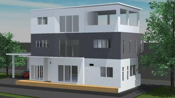 ออกแบบ 3d บ้าน 3 ชั้นให้ลูกค้า  style modern:  บ้านและที่อยู่อาศัย by mayartstyle
