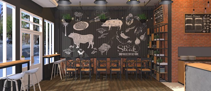 Steakhouse Design / รับออกแบบร้าน Steak:  ตกแต่งภายใน by DesignOne Bkk