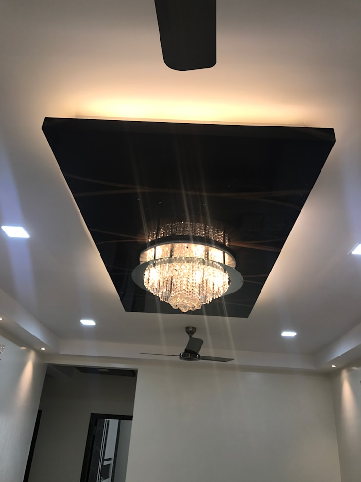 Luxury Interior Design  3 BHK Flat: minimalistic Living room by Nabh Design & Associates