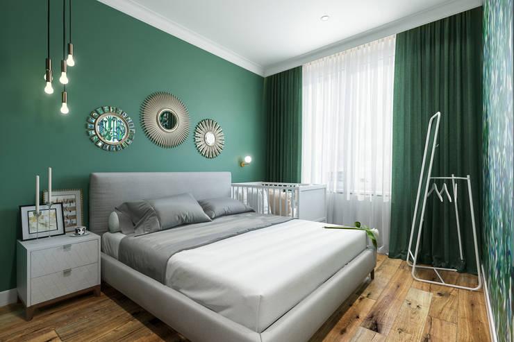 Изумрудная спальня: Спальни в . Автор – Студия архитектуры и дизайна Дарьи Ельниковой