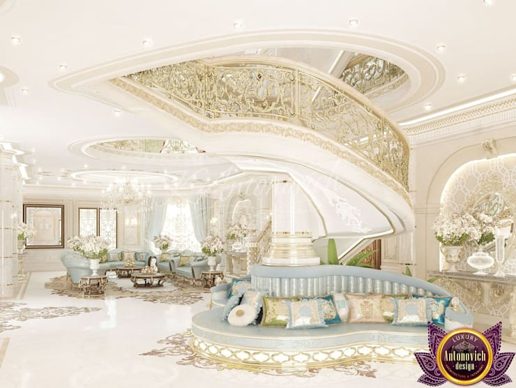   Royal interiors by Katrina Antonovich:  Corridor & hallway by Luxury Antonovich Design, Classic