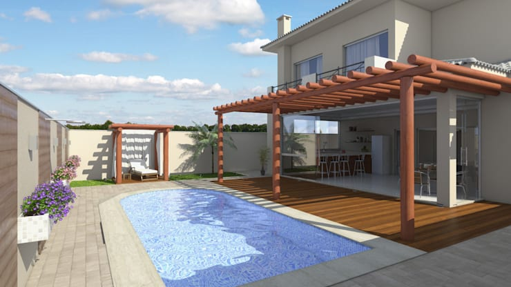 casa clássica , varanda com pergolado:   por Renata Prata Studio