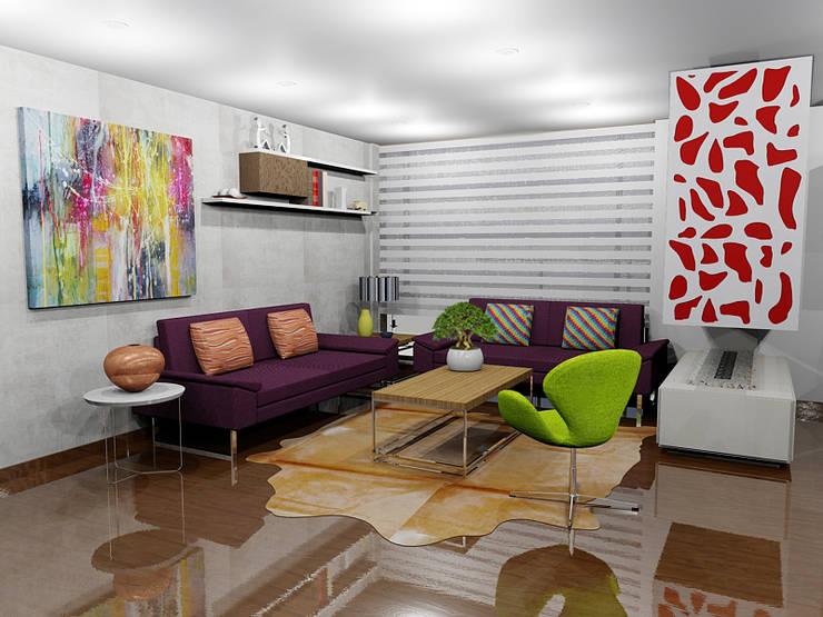 Ciudad Salitre Occidental: Salas de estilo  por Omar Interior Designer  Empresa de  Diseño Interior, remodelacion, Cocinas integrales, Decoración, Moderno Madera Acabado en madera