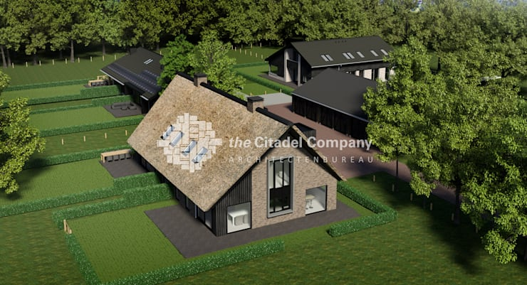 Boerenerf 'De Vosser Esch' - Vogelvlucht:  Huizen door Architectenbureau The Citadel Company, Landelijk
