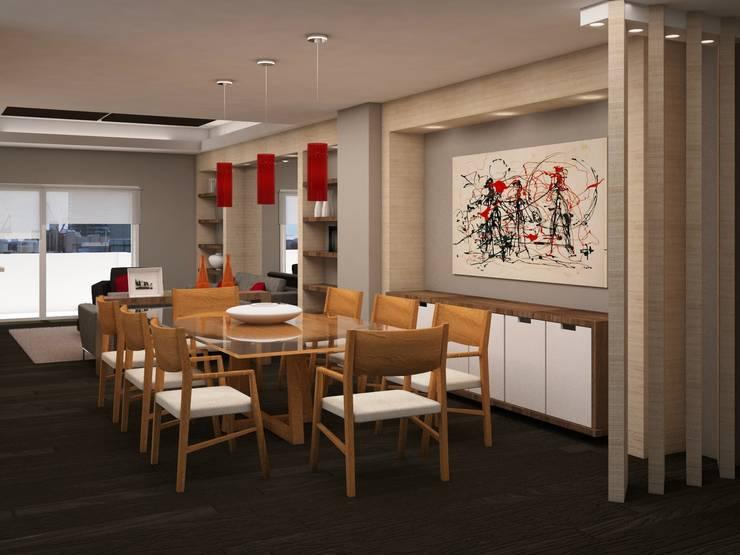 Living room by JMS DISEÑO DE INTERIORES MUEBLES Y CONSTRUCCION , Modern Wood Wood effect