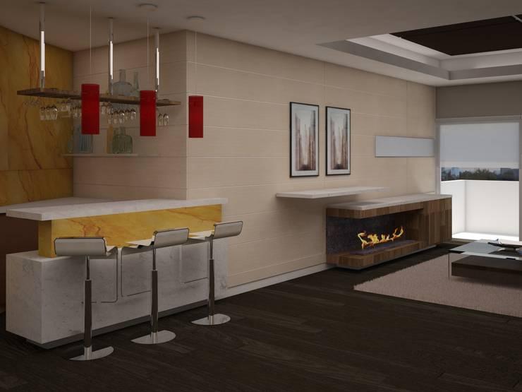 Living room by JMS DISEÑO DE INTERIORES MUEBLES Y CONSTRUCCION , Modern Marble