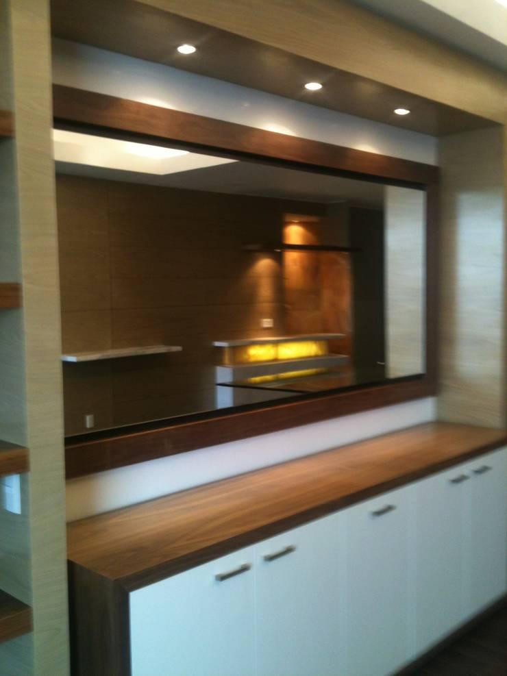 Living room by JMS DISEÑO DE INTERIORES MUEBLES Y CONSTRUCCION , Modern Engineered Wood Transparent