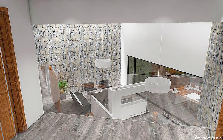 Vista desde pasillo segundo piso: Pasillos y hall de entrada de estilo  por Smartlive Studio