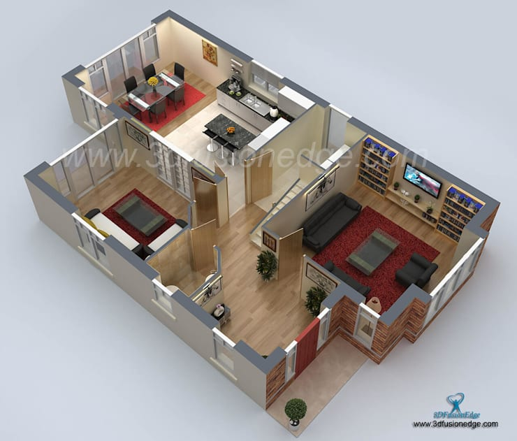 Architectural 3d Floor Plan Rendering: 3d Floor Plan Rendering Door 3DFUSIONEDGE