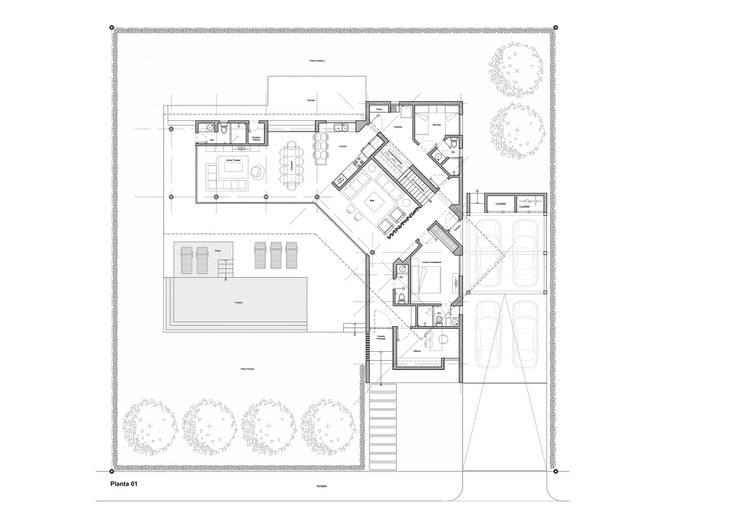 Planta 01: Casas de estilo minimalista por del castillo schiffino *  |  dCS*