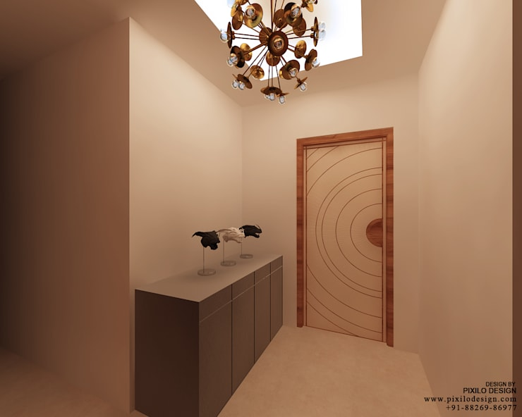 Bishnoi's Residence :  Corridor & hallway by Pixilo Design