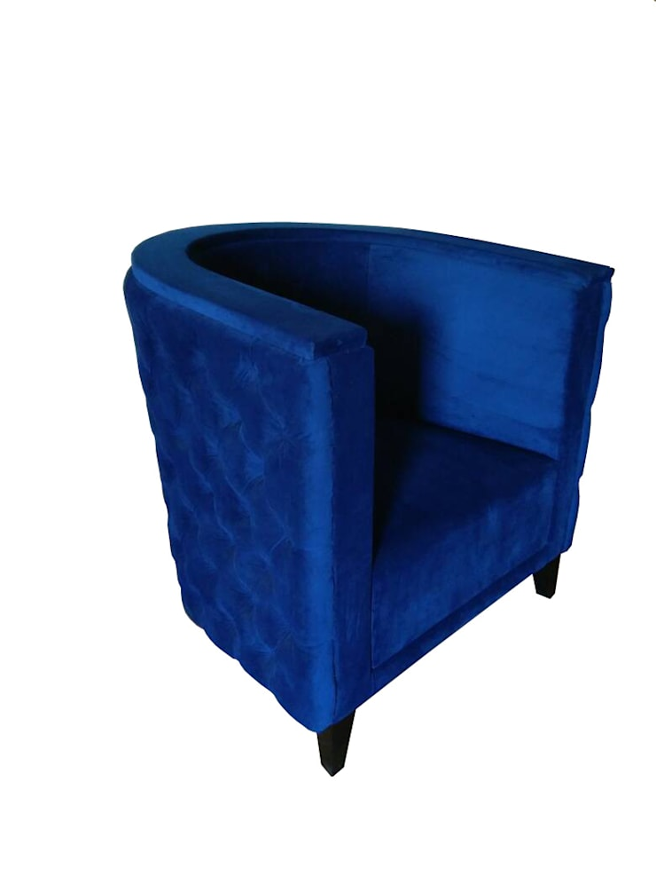 Blue round arm chair:  Dining room by Total Interiors Solutions Pvt. ltd.