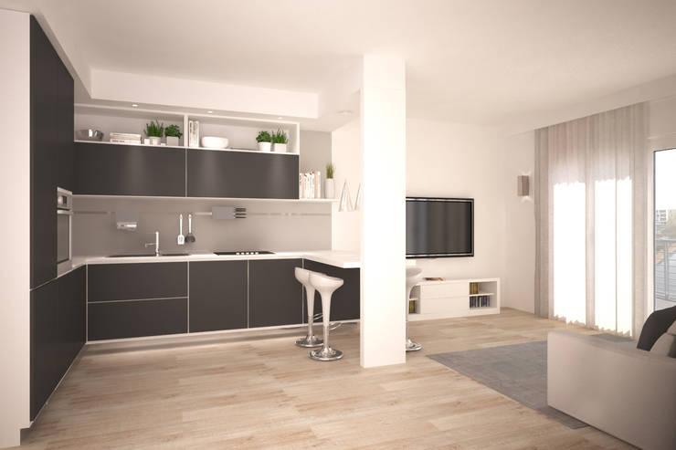 render zona giorno: Cucina in stile  di Silvana Barbato, StudioAtelier