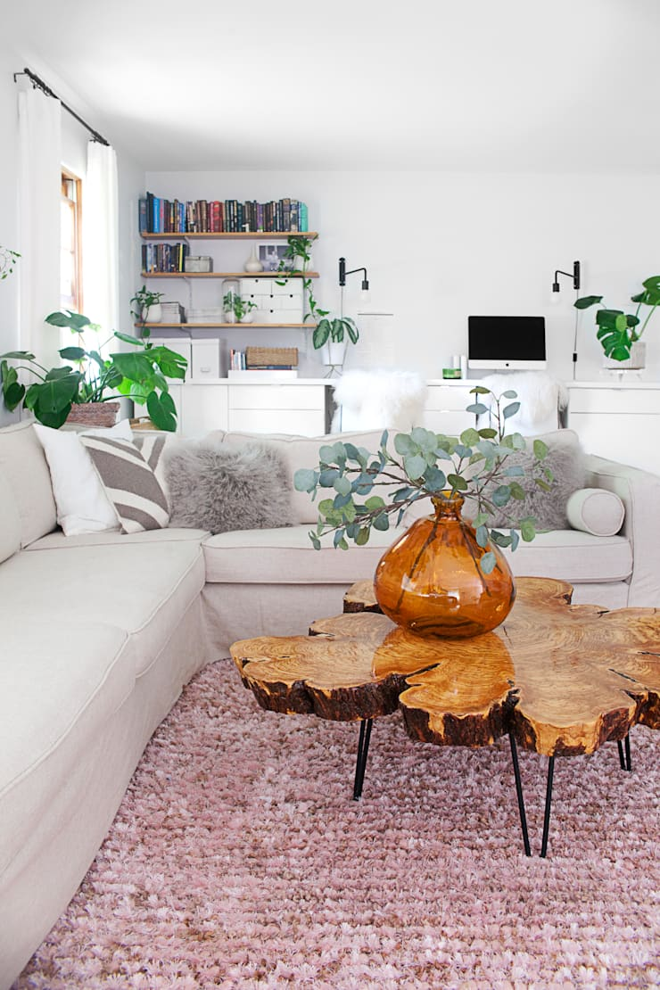 Replacement slipcovers: IKEA Karlstad Sectional Sofa with linen covers:  Living room by Comfort Works Custom Slipcovers