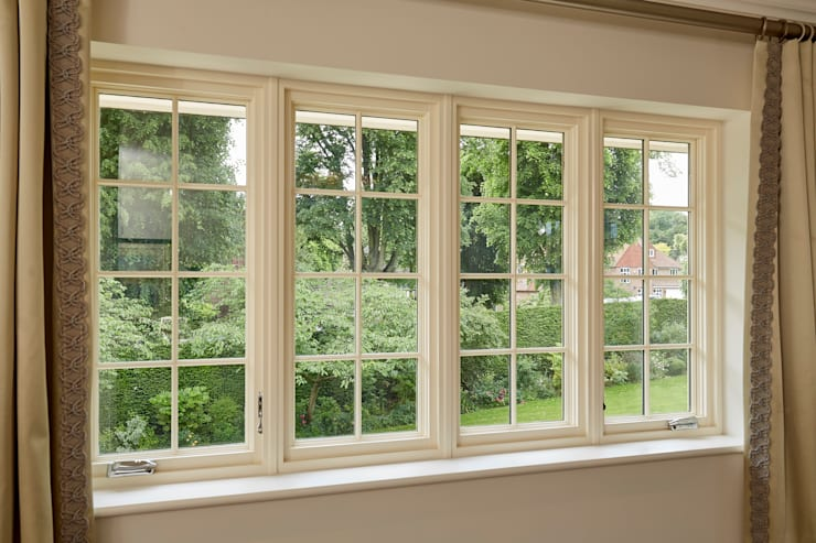 Marvin's Finely Crafted Aluminium Clad Wood Casement Windows With French Vanilla Interior Finish:  Windows  by Marvin Architectural