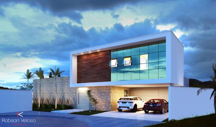 Fachada Contemporânea: Casas  por Robson Veloso Arquitetura