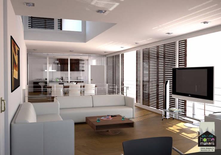 White Base Living Room:  Living room by home makers interior designers & decorators pvt. ltd.