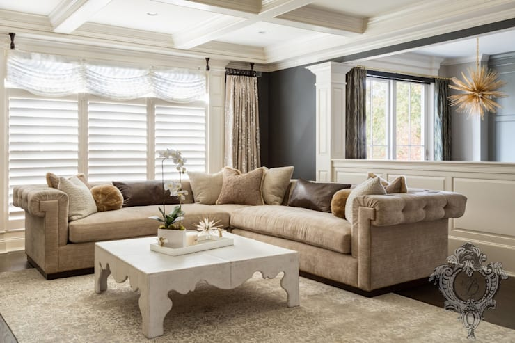 Dash of Gold:  Living room by Kellie Burke Interiors