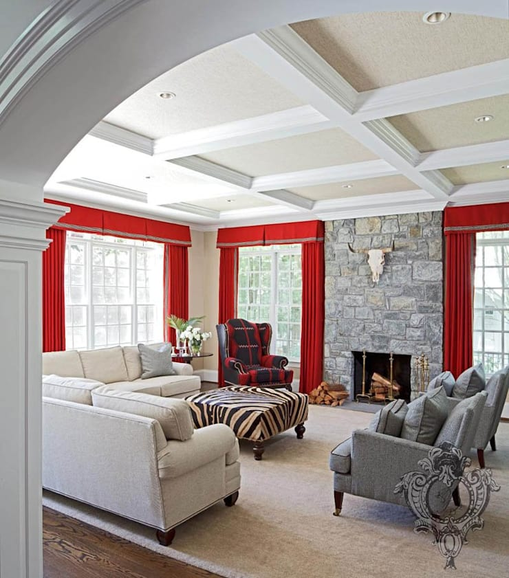 Family Room:  Media room by Kellie Burke Interiors