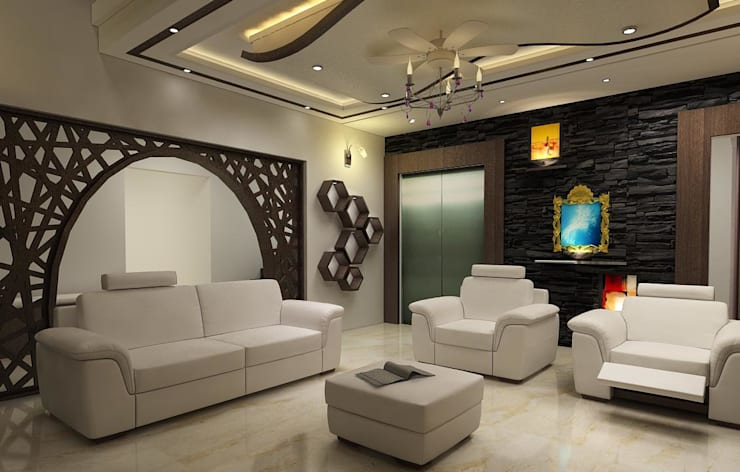 Residence OF Mr.Raghav:  Living room by A-Z Architects & Vaastu