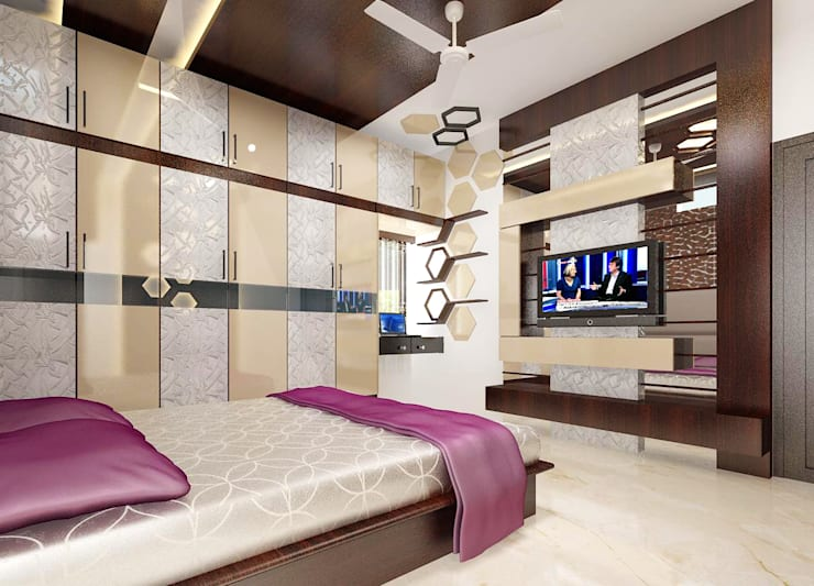 Residence OF Mr.Raghav:  Bedroom by A-Z Architects & Vaastu