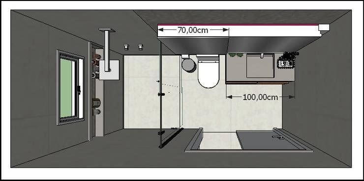 Planta Baixa: Banheiros modernos por Mariana Bertelli Arquitetura e Interiores