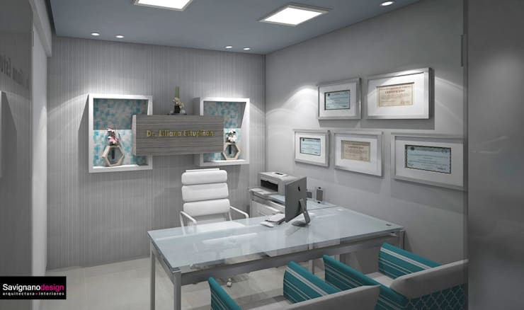 Diseño Consultorio Clinicia MAxilofacial - Barranquilla: Estudios y despachos de estilo  por Savignano Design, Moderno