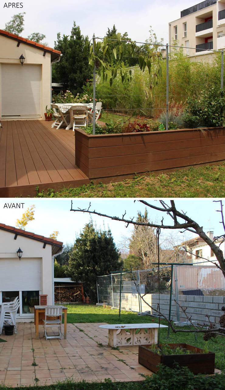 Avant / Après Terrasse composite par Constans Paysage