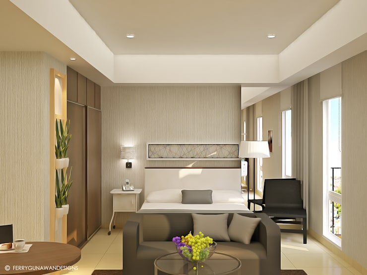 referensi design interior apartemen 2br design interior apartemen Service Apartment: Hotels by FerryGunawanDesigns