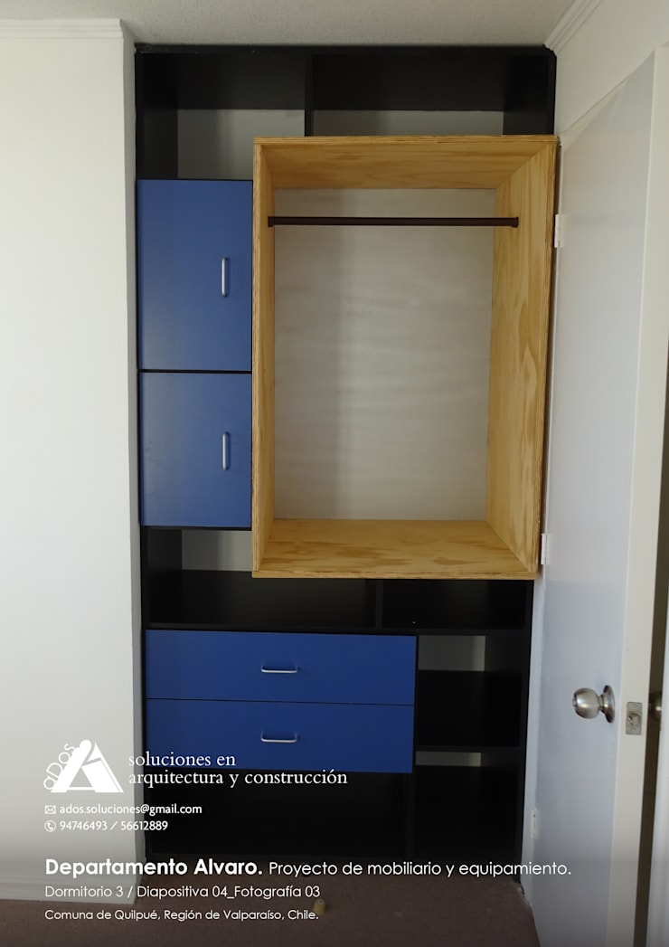 Departamento Alvaro. Proyecto de mobiliario y equipamiento: Vestidores y closets de estilo  por Ados